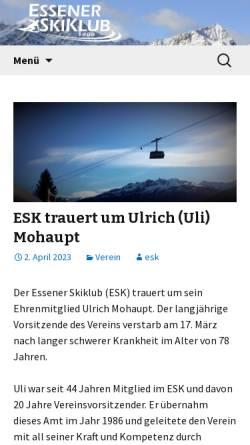 Vorschau der mobilen Webseite www.essener-skiklub.de, Essener Skiklub e.V. (ESK)