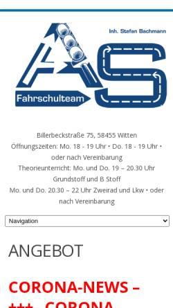 Vorschau der mobilen Webseite www.fahrschulteam-as.de, Fahrschulteam Andre Herzog & Stefan Bachmann, Witten