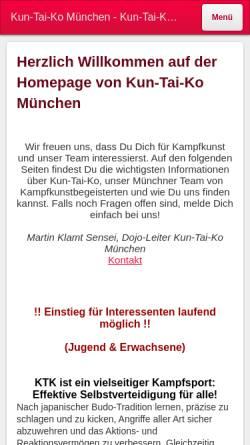 Vorschau der mobilen Webseite kuntaiko.jimdo.com, Kun-Tai-Ko München