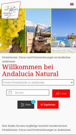 Vorschau der mobilen Webseite www.andalucianatural.de, Andalucia Natural
