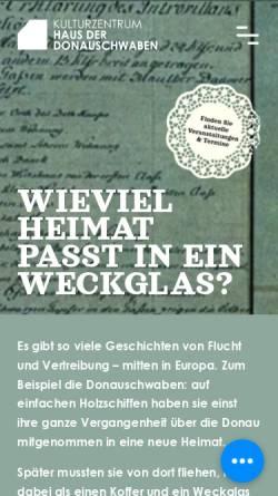 Vorschau der mobilen Webseite www.donauschwaben-bayern.de, Haar, Haus der Donauschwaben