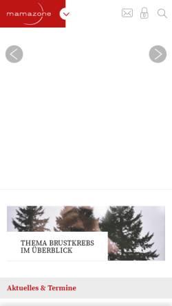 Vorschau der mobilen Webseite www.mamazone.de, Mamazone - Frauen und Forschung gegen Brustkrebs e.V.