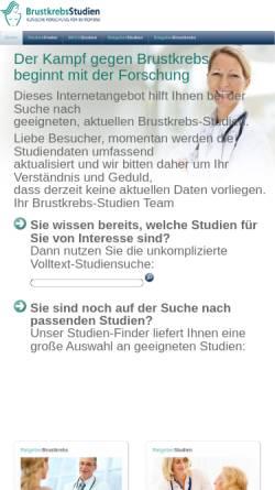 Vorschau der mobilen Webseite www.brustkrebs-studien.de, Unabhängiges Studien Portal zum Thema Brustkrebs