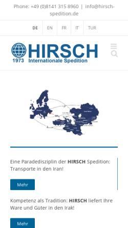 Vorschau der mobilen Webseite www.hirsch-spedition.de, Hirsch GmbH Internationale Spedition