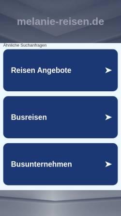 Vorschau der mobilen Webseite www.melanie-reisen.de, Melanie-Reisen