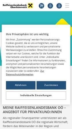 Vorschau der mobilen Webseite www.rlbooe.at, Raiffeisenlandesbank Oberösterreich reg. Gen.m.b.H.