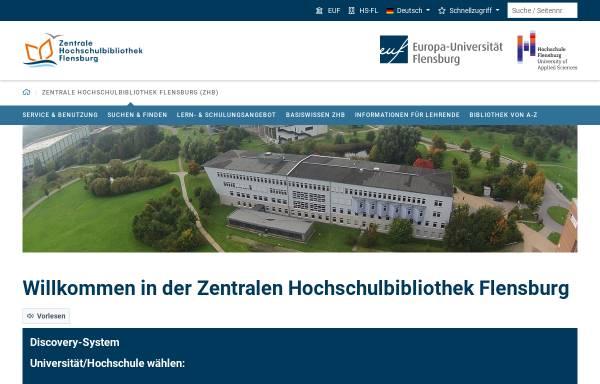 Vorschau von www.zhb-flensburg.de, Zentrale Hochschulbibliothek Flensburg