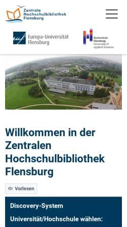 Vorschau der mobilen Webseite www.zhb-flensburg.de, Zentrale Hochschulbibliothek Flensburg