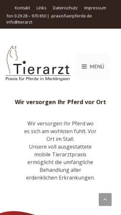 Vorschau der mobilen Webseite www.tierarzt-praxisfuerpferde.de, Tierarzt für Pferde