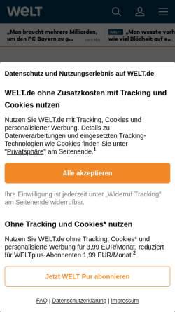 Vorschau der mobilen Webseite www.welt.de, Er sprach das Mantra, doch sie wollte Tantra
