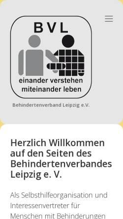 Vorschau der mobilen Webseite www.le-online.de, Behindertenverband Leipzig e.V.