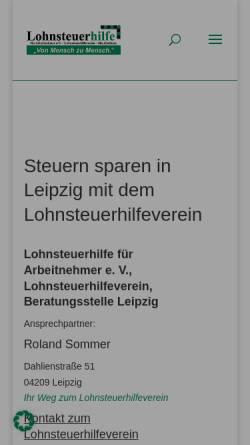 Vorschau der mobilen Webseite www.lohnsteuerhilfe.net, Lohnsteuerhilfe für Arbeitnehmer e.V. Sitz Gladbeck Beratungsstelle Leipzig-Grünau