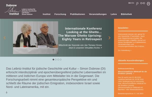 Vorschau von www.dubnow.de, Simon-Dubnow-Institut für jüdische Geschichte und Kultur e. V. an der Universität Leipzig
