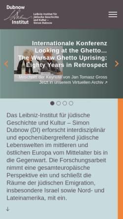 Vorschau der mobilen Webseite www.dubnow.de, Simon-Dubnow-Institut für jüdische Geschichte und Kultur e. V. an der Universität Leipzig