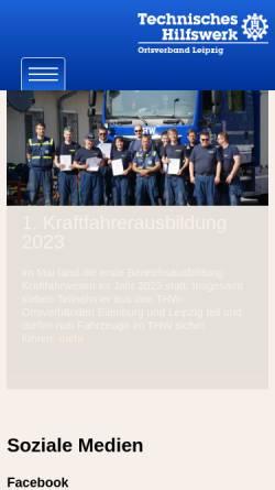 Vorschau der mobilen Webseite www.thw-leipzig.de, THW Ortsverband Leipzig