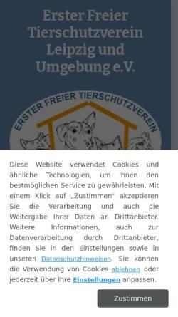 Vorschau der mobilen Webseite www.tierheim-leipzig.de, Tierheim Leipzig