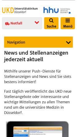 Vorschau der mobilen Webseite www.uniklinik-duesseldorf.de, Neurologische Klinik Universität Düsseldorf