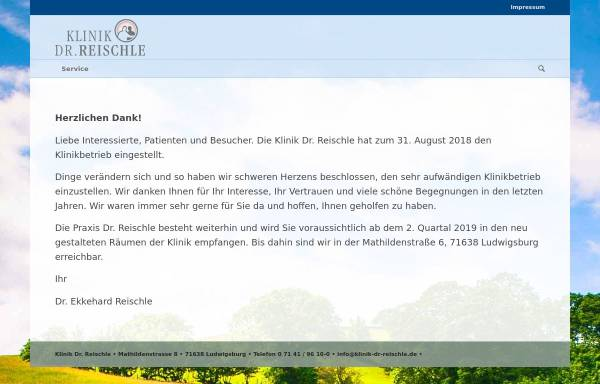 Vorschau von www.klinik-dr-reischle.de, Privatklinik Dr. Reischle - Ludwigsburg