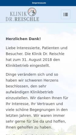 Vorschau der mobilen Webseite www.klinik-dr-reischle.de, Privatklinik Dr. Reischle - Ludwigsburg