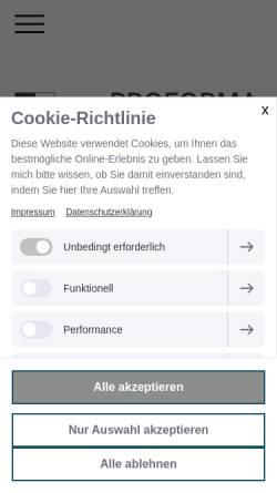 Vorschau der mobilen Webseite www.proforma.de, Proforma Gmbh & Co. KG