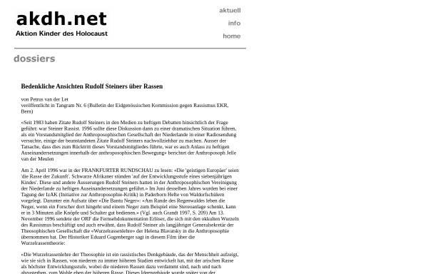 Vorschau von www.akdh.ch, Bedenkliche Ansichten Rudolf Steiners über Rassen - Petrus van der Let