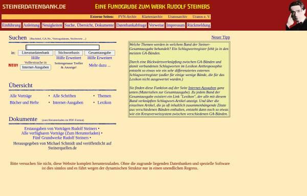 Vorschau von www.steinerdatenbank.de, Eine Fundgrube zum Werk Rudolf Steiners
