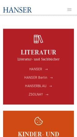 Vorschau der mobilen Webseite www.hanser.de, Carl Hanser Verlag GmbH & Co KG