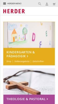 Vorschau der mobilen Webseite www.herder.de, Verlag Herder GmbH