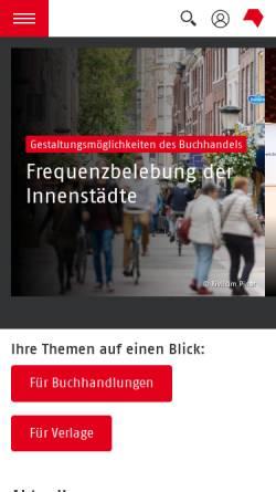 Vorschau der mobilen Webseite www.boersenverein.de, Börsenverein des Deutschen Buchhandels