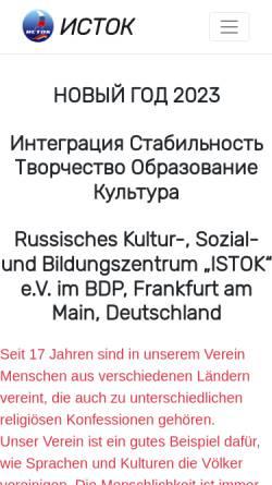 Vorschau der mobilen Webseite www.istok-ev.org, Russisches Kultur-, Sozial- und Bildungszentrum ISTOK e.V.
