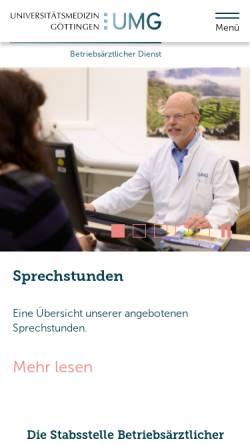 Vorschau der mobilen Webseite www.betriebsarzt.med.uni-goettingen.de, Betriebsärztlicher Dienst der Georg-August-Universität Göttingen