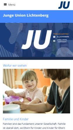 Vorschau der mobilen Webseite www.ju-lichtenberg.de, Junge Union Lichtenberg