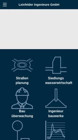 Vorschau der mobilen Webseite www.leinfelder-ingenieure.de, Leinfelder Ingenieure GmbH