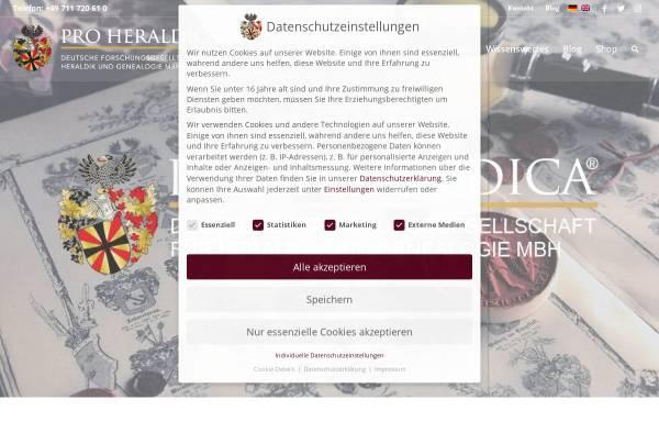 Vorschau von pro-heraldica.de, PRO HERALDICA Deutsche Forschungsgesellschaft für Heraldik und Genealogie mbH