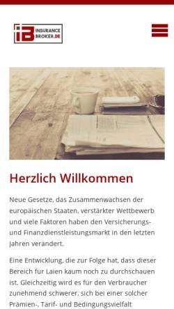 Vorschau der mobilen Webseite www.insurancebroker.de, InsuranceBroker.de - AKD Internet GmbH