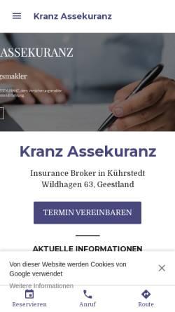 Vorschau der mobilen Webseite www.kranz-assekuranz.com, Kranz Assekuranz GbR