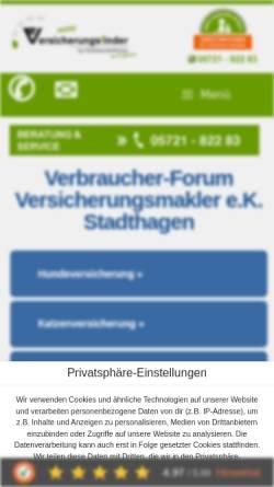 Vorschau der mobilen Webseite verbraucherforum-info.de, Verbraucher-Forum, Inh. Tania Dählmann Versicherungsmakler e.K.