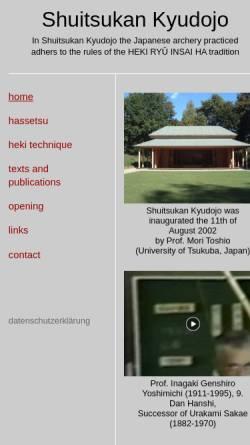 Vorschau der mobilen Webseite www.shuitsukankyudojo.de, Shuitsukan Kyudojo