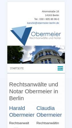 Vorschau der mobilen Webseite www.obermeier-berlin.de, Obermeier & Obermeier