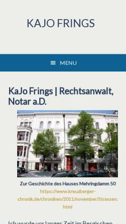 Vorschau der mobilen Webseite www.kajofrings.de, Rechtsanwalt und Notar KaJo Frings