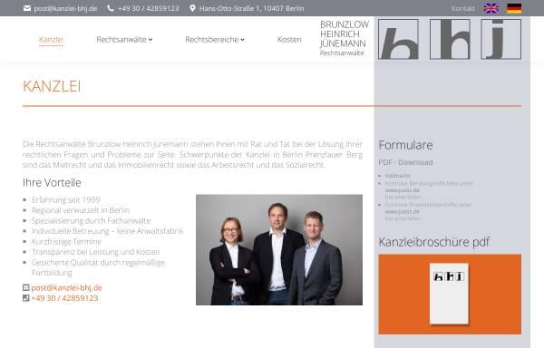 Vorschau von www.kanzlei-bhj.de, Rechtsanwälte Brunzlow, Heinrich und Jünemann