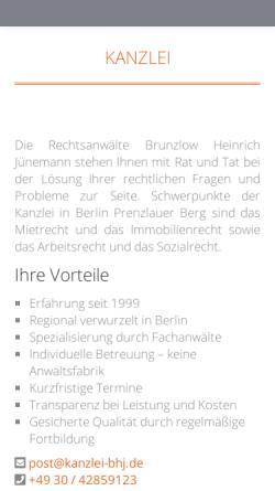 Vorschau der mobilen Webseite www.kanzlei-bhj.de, Rechtsanwälte Brunzlow, Heinrich und Jünemann