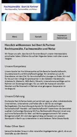 Vorschau der mobilen Webseite www.ip-berlin.de, Rechtsanwälte Ibert und Passmann