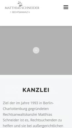 Vorschau der mobilen Webseite www.anwaltsbuero-schneider.de, Schneider, Matthias