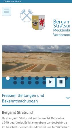 Vorschau der mobilen Webseite www.bergamt-mv.de, Bergamt Stralsund