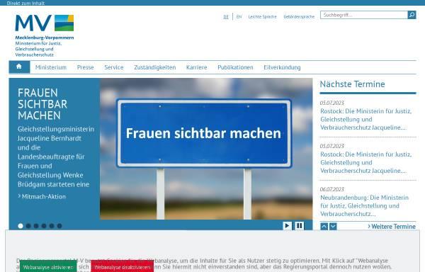 Vorschau von www.jm.mv-regierung.de, Justizministerium