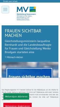 Vorschau der mobilen Webseite www.jm.mv-regierung.de, Justizministerium