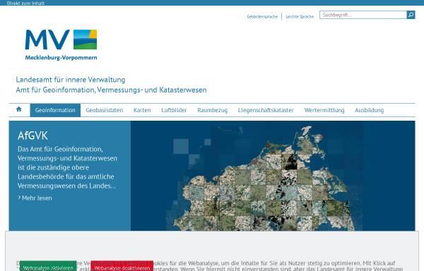 Vorschau von www.lverma-mv.de, Landesvermessungsamt Mecklenburg-Vorpommern