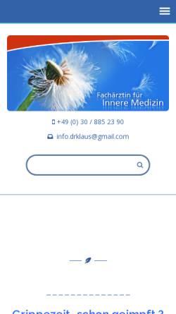 Vorschau der mobilen Webseite www.dr-klaus-berlin.de, Dr. med. Cathrin Klaus - Fachärztin für innere Medizin, Berlin