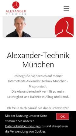 Vorschau der mobilen Webseite www.alexandertechnik-muenchen.com, Alexander Institut München - Bel Canto